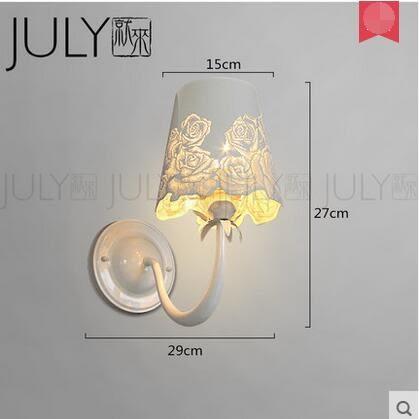 美術燈  簡約現代床頭臥室樓梯過道咖啡廳個性镂空創意玫瑰園鐵藝壁燈-不含光源