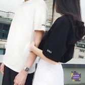 情侶裝 無帽夏不一樣的情侶裝設計感小眾白色港風學生班服女寬鬆短袖T恤 2色S-4XL 交換禮物