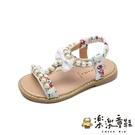 【樂樂童鞋】清純小碎花涼鞋 S716 - 中童 套腳 女童 小童 拖鞋 皮鞋 童鞋 露指