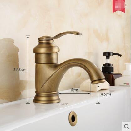 復古仿古水龍頭全銅單孔加厚創意衛生間面盆