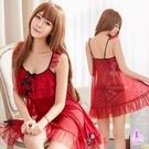 性感睡衣 甜美酒紅蕾絲透視薄紗二件式連身睡衣裙 貨號:NA19020009