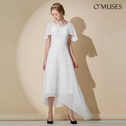 OMUSES V領雪紡前短後長伴娘婚紗訂製白色禮服