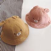 小熊刺繡大耳漁夫帽 遮陽帽 帽子 童帽