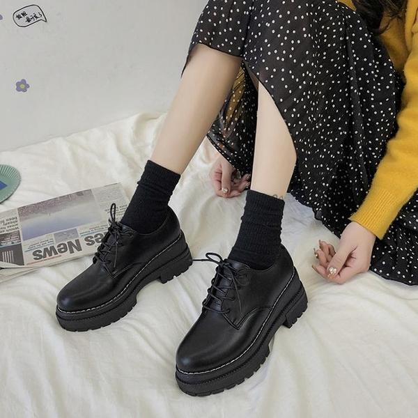 英倫風鬆糕厚底小皮鞋女2020新款學生韓版百搭jk復古黑色日系單鞋 夢幻小鎮