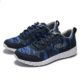 FILA 藍 丈藍 幾何紋 網布 輕量 透氣 慢跑鞋 運動鞋 男 (布魯克林) 1J324R304