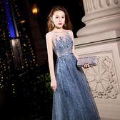 雙十二狂歡  晚宴禮服裙女2018新款秋季端莊大氣長款顯瘦主持宴會晚禮服連身裙