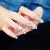 新娘美甲成品 皇冠蝴蝶結閃鑽假指甲貼片甲片