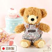 Hamee 日本製 手工 藍色碎花 吊帶褲 絨毛娃娃 玩偶禮物 泰迪熊 (棕色/S) 640-198808