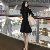 復古赫本小黑裙秋裝新款女小心機刺繡收腰連身裙顯瘦蓬蓬裙春