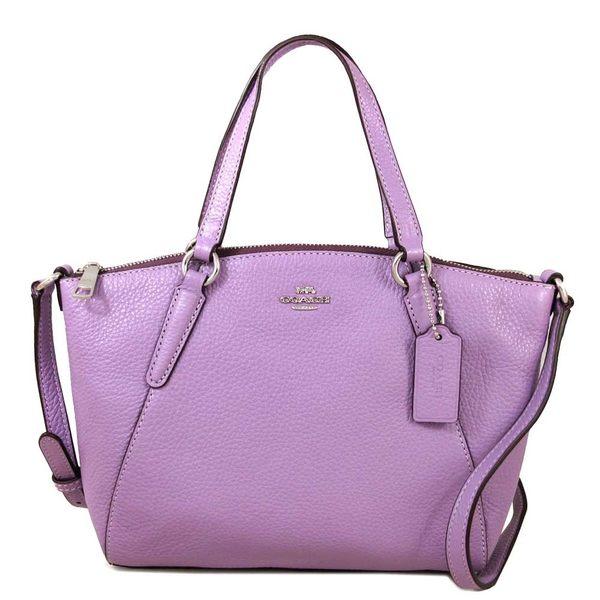 COACH 馬車Logo全皮革KELSEY 小款托特包 兩用包 手提包 斜背包(淡紫色)-28994