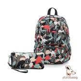 B.S.D.S冰山袋鼠 - 楓糖瑪芝 - 大容量附插袋後背包+零錢包2件組 - 熱帶雨林【Z060-1】