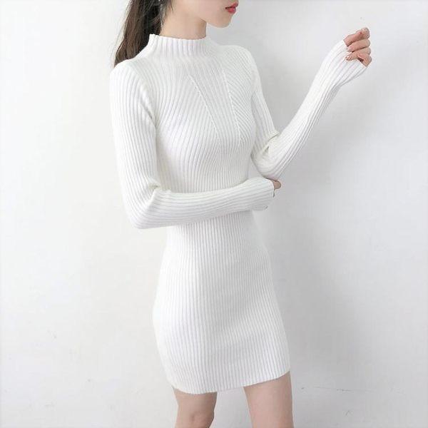 秋冬新款半高領套頭針織衫打底衫毛衣女加厚中長款修身包臀連衣裙