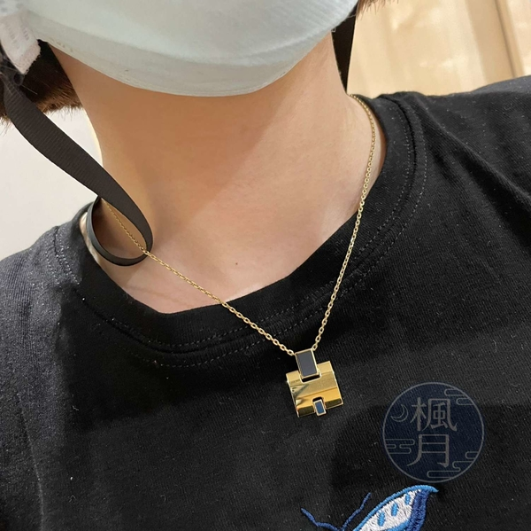 BRAND楓月 HERMES 愛馬仕 孔雀藍EILEEN項鍊 金色H造型 飾品 配件 配飾 首飾