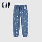 Gap女童 Logo清新印花鬆緊休閒褲 619660-藍色