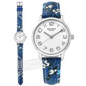 Disney 迪士尼 / MK-14002L / 米奇系列 造型錶帶 日本機芯 兒童錶 卡通錶 皮革手錶 白x藍 30mm
