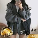 【Stay】韓版寬鬆慵懶學院風V領針織外...