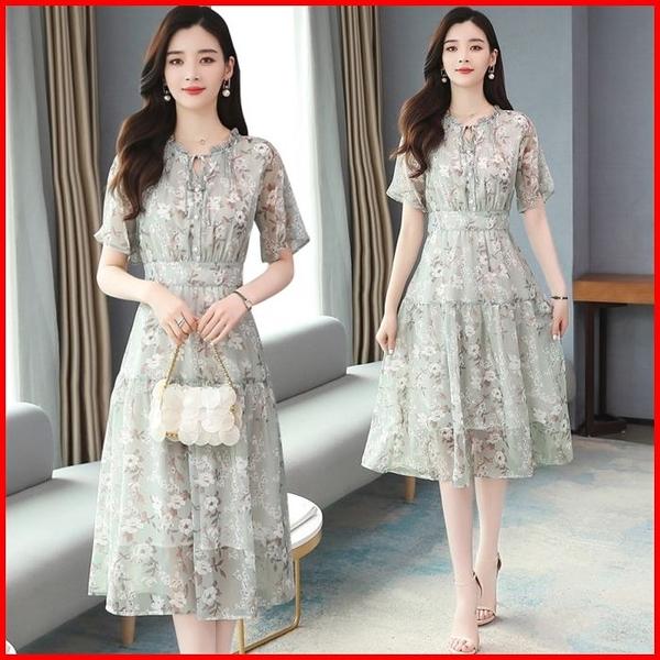 韓國風短袖洋裝 碎花雪紡連衣裙女夏季新款小清新連身裙 依多多