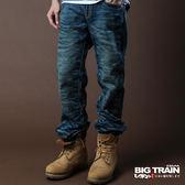 BIG TRAIN 3D後袋雲紋繡中直垮褲-男-中藍