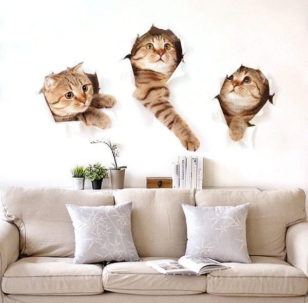 卡通動物兒童房 小貓牆貼紙 3D仿真裝飾 客廳寵物店裝飾 壁貼 貓奴【H81223】