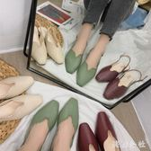 後空單鞋•2019新款韓版方頭淺口低跟包頭涼鞋女百搭溫柔女鞋CC4207『美鞋公社』