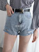女性牛仔短褲 毛邊破洞牛仔短褲女新款顯瘦韓版寬鬆高腰 珍妮寶貝