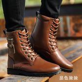 馬丁靴 男皮靴新款中大尺碼潮流軍靴男士高幫鞋雪地短靴冬季百搭靴子 js13686【黑色妹妹】