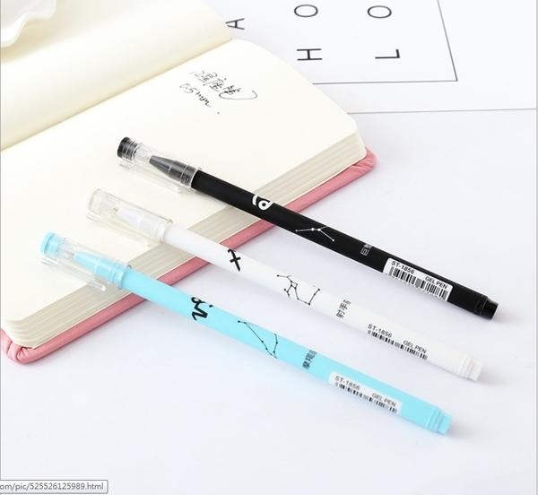 88柑仔店---2245韓國文具十二星座中性筆學生書寫文具創意辦公水筆黑色簽字筆(十二星座1組)