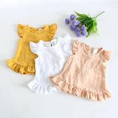 夏季薄款寶寶純棉娃娃衫女童上衣棉麻襯衫背心T恤嬰兒外穿打底衫 嬌糖小屋