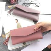2018時尚日韓版長款錢包新款女士流蘇皮夾三折手拿包