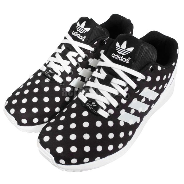 【五折特賣】adidas 休閒慢跑鞋 ZX Flux 黑白 黑 白 點點 基本款 百搭 明星著用 女鞋【PUMP306】 S77312