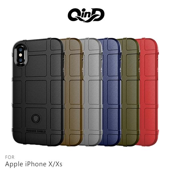 QinD Apple iPhone X/Xs 戰術護盾保護套 氣囊 減震抗摔 全包邊 保護殼 背蓋 保護套 iXs