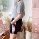Carphanie卡芬妮 條紋親膚透氣速乾女生運動短褲-5色
