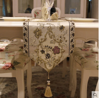 高檔茶几桌旗歐式奢華田園美式餐桌長條裝飾布藝桌巾台佈床尾