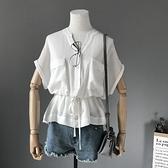短袖襯衫-V領時尚蝙蝠袖雙口袋抽繩收腰女上衣2色73rg12[巴黎精品]