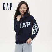 Gap女裝 Logo潮流款印花連帽休閒上衣 620511-海軍藍