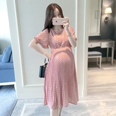 漂亮小媽咪 韓系點點洋裝 【D5322】 波點 雪紡洋裝 孕婦洋裝 高腰 連身裙 孕婦裝