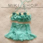 泳衣 薄荷綠花朵抹胸蛋糕復古高腰泳裝比基尼裙式分體游泳衣女遮肚顯瘦 夢藝家
