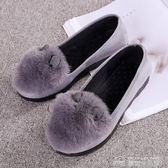 豆豆鞋豆豆鞋女秋新款女鞋平底布鞋兔耳朵單鞋時尚休閒毛毛鞋  夢想生活家