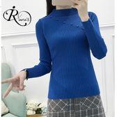 韓系半高領斜扣子針織衫毛衣上衣/5色 (RT0118-PQ74847) iRurus 路絲時尚
