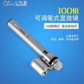 100倍可調筆式帶燈帶驗鈔顯微鏡9883帶光源LED放大鏡「Chic七色堇」