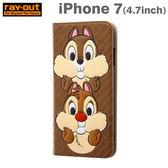 Hamee 日本 迪士尼 搞怪表情系列 皮革壓紋 iPhone7 側翻式 手機皮套 (奇奇蒂蒂) 111-004668