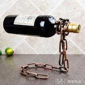 紅酒架創意葡萄酒架子 復古鐵藝擺件時尚簡約紅酒瓶架        瑪奇哈朵