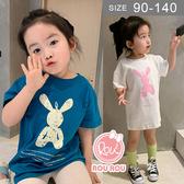 韓版女童短袖T恤洋裝。ROUROU童裝。夏女童中小童90%棉兔子印花長版短袖T恤 洋裝 0221-513