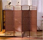 中式藤編屏風隔斷牆  簡約現代摺疊行動折屏 隔斷裝飾客廳小戶型 卡布奇諾