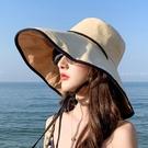 防曬帽子女夏天休閑百搭遮臉太陽帽戶外出游防紫外線大沿遮陽帽潮 快速出貨