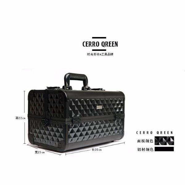 商標專利品牌 Cerro Qreen 專業時尚 鑽石菱紋 化妝箱手 提肩背 美甲/新秘/彩妝師