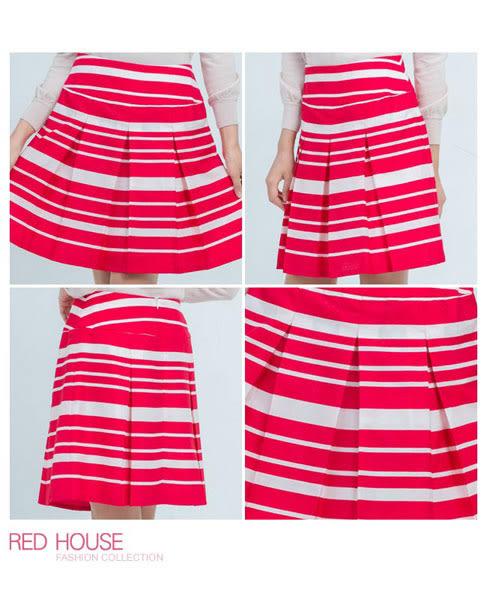 RED HOUSE-蕾赫斯-紅白條紋裙 (紅色)