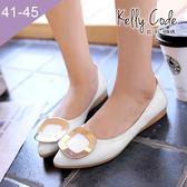大尺碼女鞋-凱莉密碼-新款時尚簡約金屬方扣漆皮尖頭平底鞋蛋捲鞋1cm(41-45)【GL618-53】白色