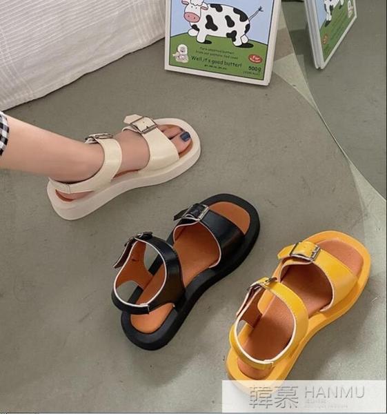2021夏季新款韓版百搭鬆糕涼鞋復古露趾一字扣厚底舒適度假沙灘鞋 夏季新品