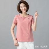 民族風文藝棉麻上衣2020夏裝新款寬鬆刺繡打底衫短袖T恤 LF3714【Pink中大尺碼】